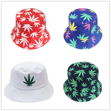 HUOBAO Men Women Weed Maple Leaf Bucket Hat Hip Hop Fisherman Panama Hats Embroidery Outdoor Casual Swag Bob Visor Cap