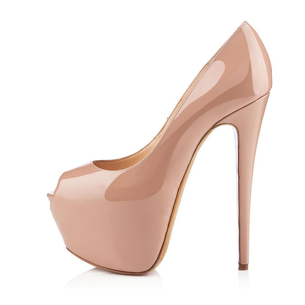 e168133ddb71d0 Nude Peep Toe High Heel Platform Pumps Shiny Black Stiletto Heels Sexy  Dress Shoes Women Summer Shoes Large Size Platforms 2018