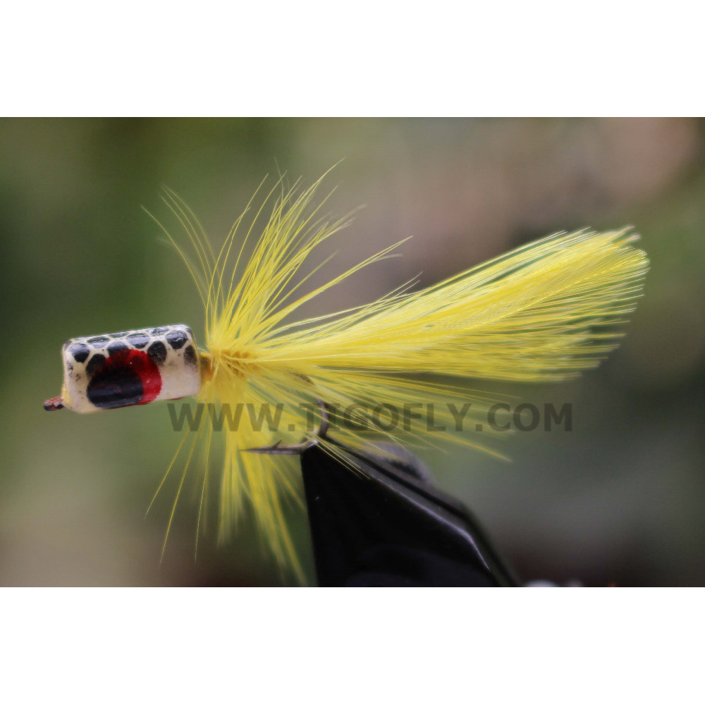 Tigofly 12 Pcs Yellow/Red Hackle Body Tail Foam Head Popper Bass Fly Fishing Flies Lures- Size #6