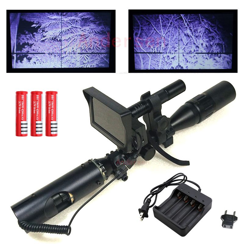 2018 Outdoor Hunting optics Tactical digital Infrared night vision Hunting riflescope Accessories with Monitor and Flashlight 2018 hot selling accessories outdoor hunting camera night vision tactical digital infrared flashlight for riflescope