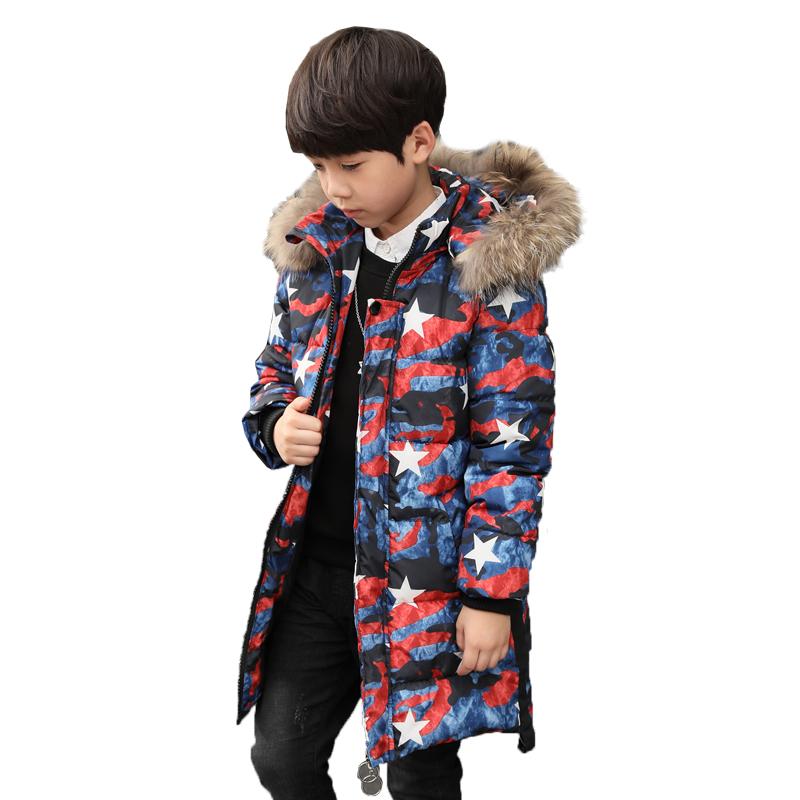 2017Camouflage Down jacket For Boys Teenagers Winter Warm Baby Boy Stars Coat Fur Hooded  Kids Teens Clothes Children Clothing 2017 teens girl boys winter outwear coat hooded jacket children duck down jacket boy clothes kids patchwork down parkas 3 12 yrs