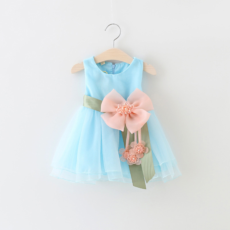 Baby Dresses for Girls Summer Tulle Baby Dress With Sashes 2017 Sleeveless Cute Solid Mesh Princess Dresses Baby Girl Clothing