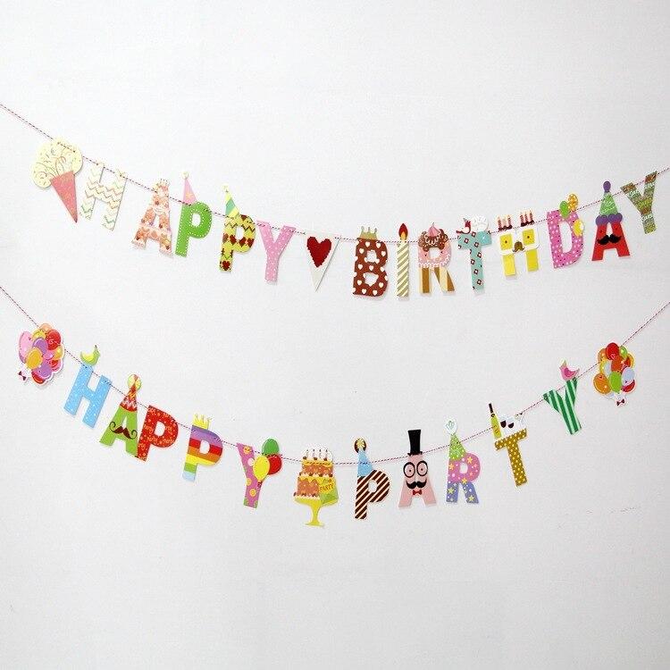 День рождения баннер висит письма реквизит для фотосессии овсянка гирлянда партия Флаг рождения Декор Baby Shower Дети сувениры вечеринок