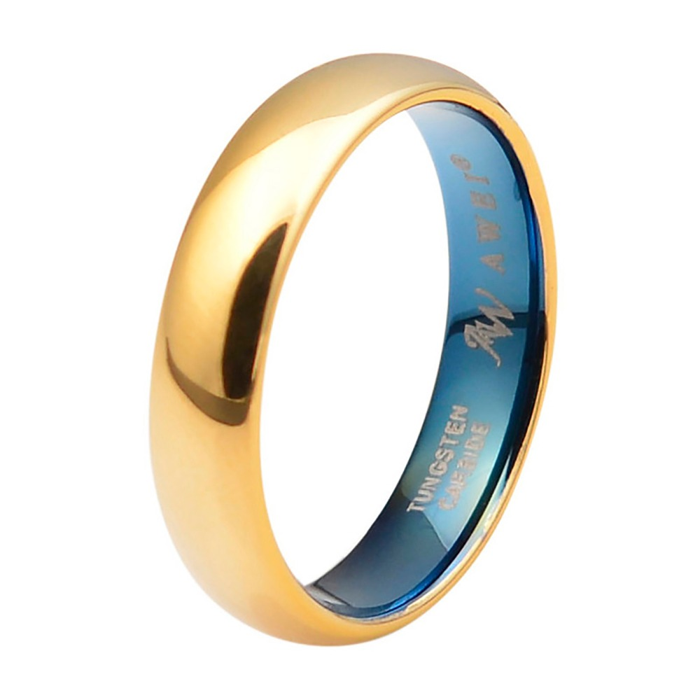 5mm Dome Polished Tungsten Rings - Comfort Fit Engagement Wedding Band - Gold Over Fashion Jewelry for Women & Men, Size 5-15