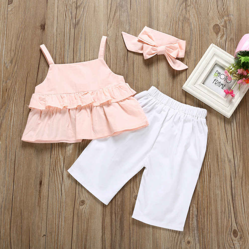 חם מוכר 3PCS פעוטות ילדים ילדה לפרוע ורוד קשת מוצק קלע חולצות מכנסיים חותלות תלבושת 1-6Y