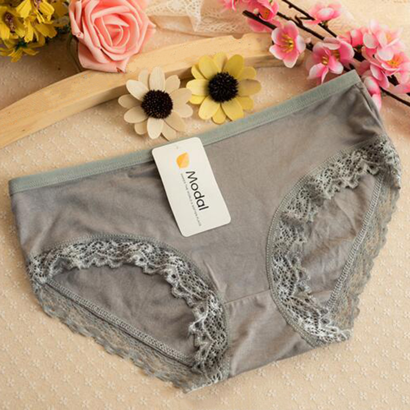 New Soft Solid Lace Modal Women Briefs Elasticity   Panties   Underwear Candy Color Bamboo Fiber Sexy Briefs One Size Accessory Gift