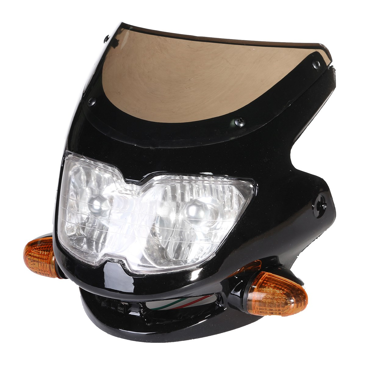 12V 35W Black Plastic Universal Streetfighter Motorcycle Headlight Signal Light Fairing Head Light12V 35W Black Plastic Universal Streetfighter Motorcycle Headlight Signal Light Fairing Head Light