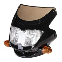 12V 35W Black Plastic Universal Streetfighter Motorcycle Headlight Signal Light Fairing Head Light
