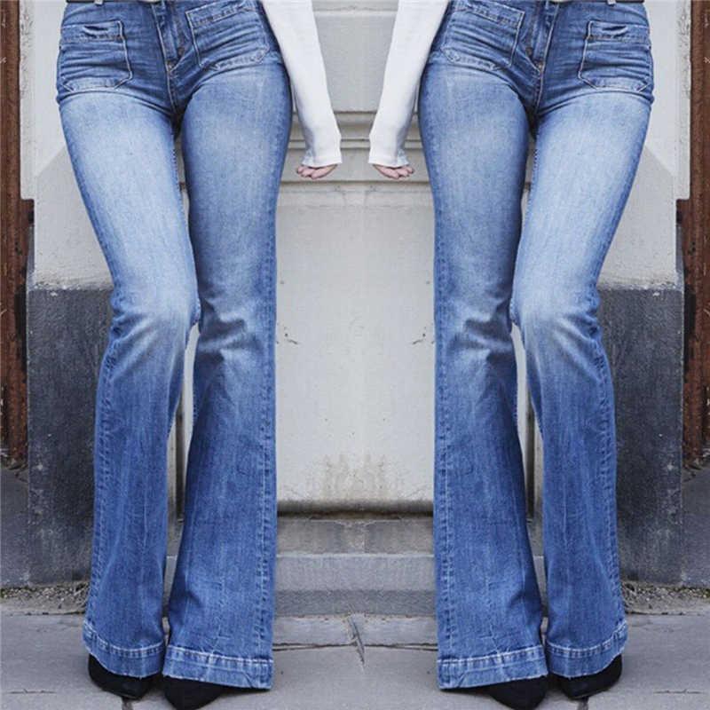 Nueva Moda Casual Mujeres Vintage Jeans De Denim Stretch Pantalones Damas Alta Cintura Pirata Pantalones Casuales Pantalones De Pierna Ancha Pantalones Vaqueros Aliexpress