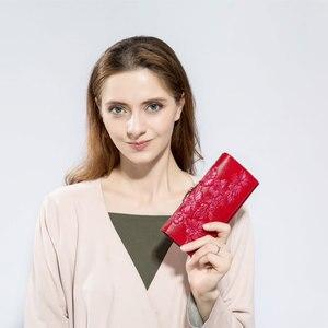 Image 3 - Miyahouse جلد طبيعي النساء محافظ تنقش الأزهار طويلة المحافظ الإناث محفظة حمل بطاقات جلدية فاخرة غلق بمشبك مخلب المحفظة