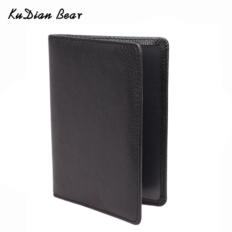 KUDIAN BEAR Pass Cover Lær Passport Holder Menn Reise Lommebok Kredittkort Holder Cover for Documents Case --BIH014 PM49