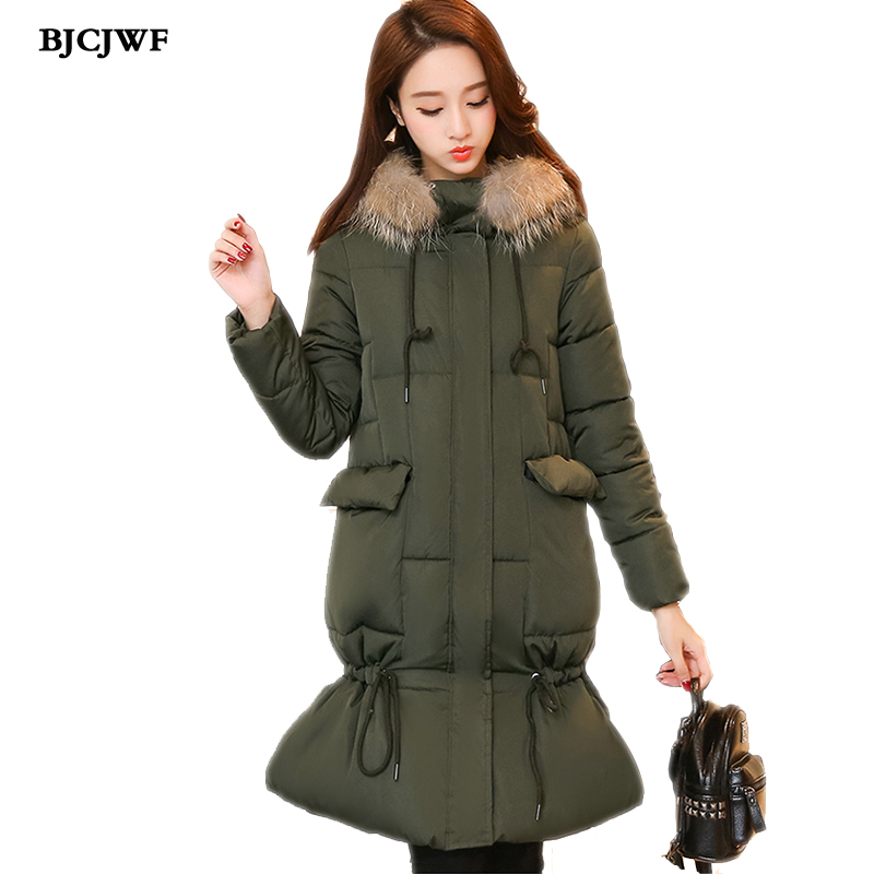 Winter Collection Parkas 2017 new warm jackets women long quilted coat parka Fur Collar Hooded Thick Cotton Coats abrigos mujer 2017 new winter warm hooded long women s coats thick cotton jacket women embroidery letter vintage overcoat parkas abrigos mujer