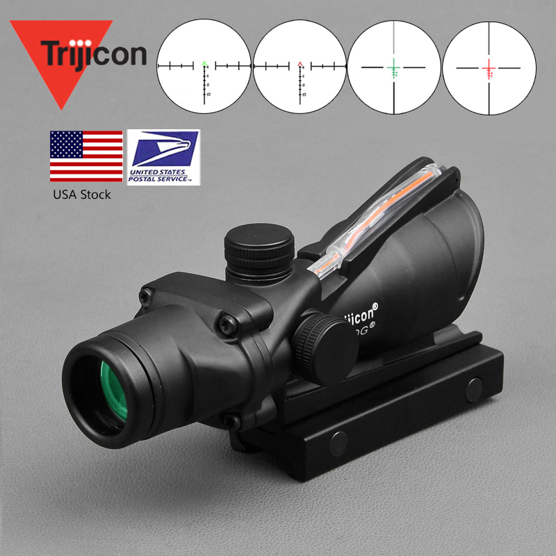 ACOG 4X32 Real Fiber Optics Red Dot Illuminated Chevron Glass Etched Reticle Tactical Optical Sight Hunting