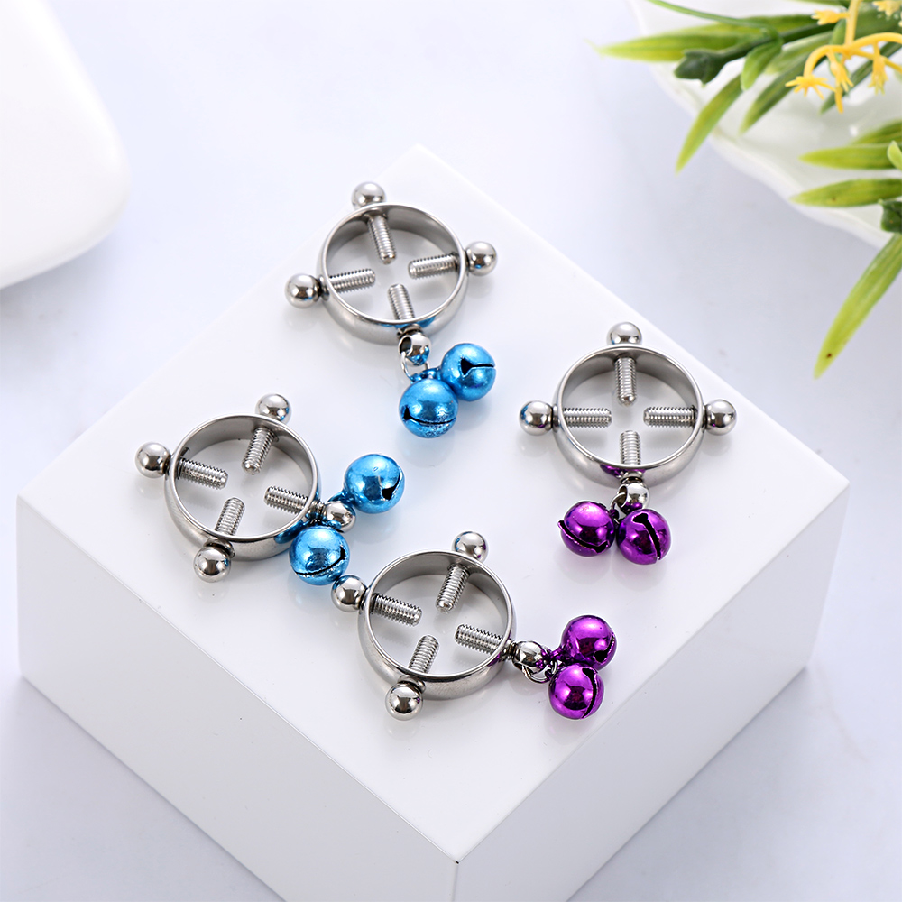 1 Pair Round Non-Piercing Nipple Ring Shield Body Piercing Jewelry Nickel-free~