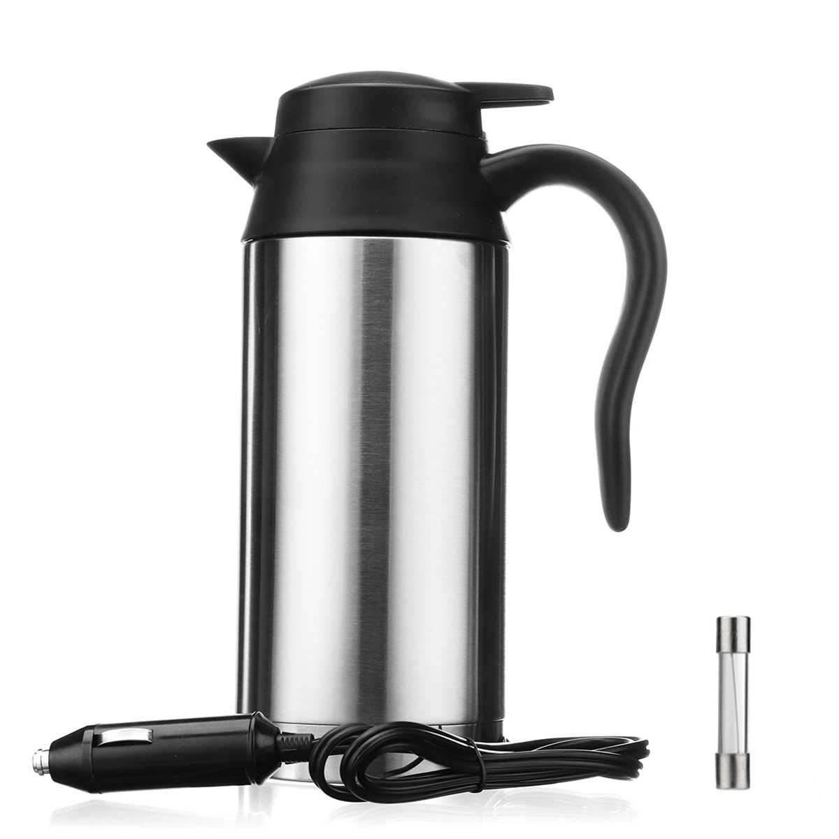 24V 750ml In Car Electric Kettle Vehicular Travel Mounted Thermal Heated Mug Motor Hot Water Coffee Tea Auto Heating Boiling Mug