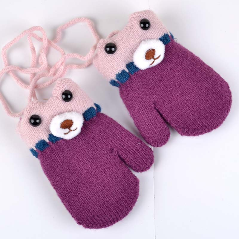 Winter Warm Baby Gloves Cartoon Bear Kids Mittens Knitted Cotton Baby Gloves For Girls Boys Crochet Mittens Baby Accessories High Quality Materials Accessories Mother & Kids