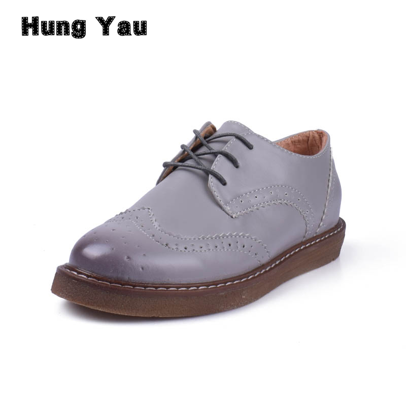 Women Creepers Brogue Oxford Shoes Moccasins PU Leather Flats Woman Designer Vintage Flat Shoes Round Toe Shoes For Women Size 8 qmn women genuine leather platform flats women brushed leather height increasing brogue shoes woman square toe creepers 34 42