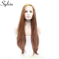 Sylvia Natural Brown Silky Straight Synthetic Lace Front Wigs Coffee Brown Heat Resistant Fiber Hair Middle Parting