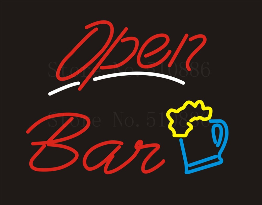 NEON SIGN For Bar Open Wine Real GLASS Tube BAR PUB Restaurant Signboard store display Decorate Store Shop Light Signs 17*14  цены
