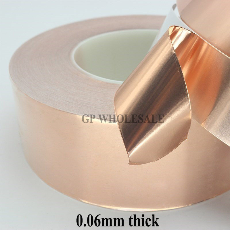 (0.06mm Thick), 45mm*30 meters Single Sided Conductive Adhesive Copper Foil Tape EMI Electromagnetic Wave Interference Shield 2 roll 6mm 30m 0 06mm adhesive single electric conduct copper foil tape for electromagnetic wave radiation emi shield mask