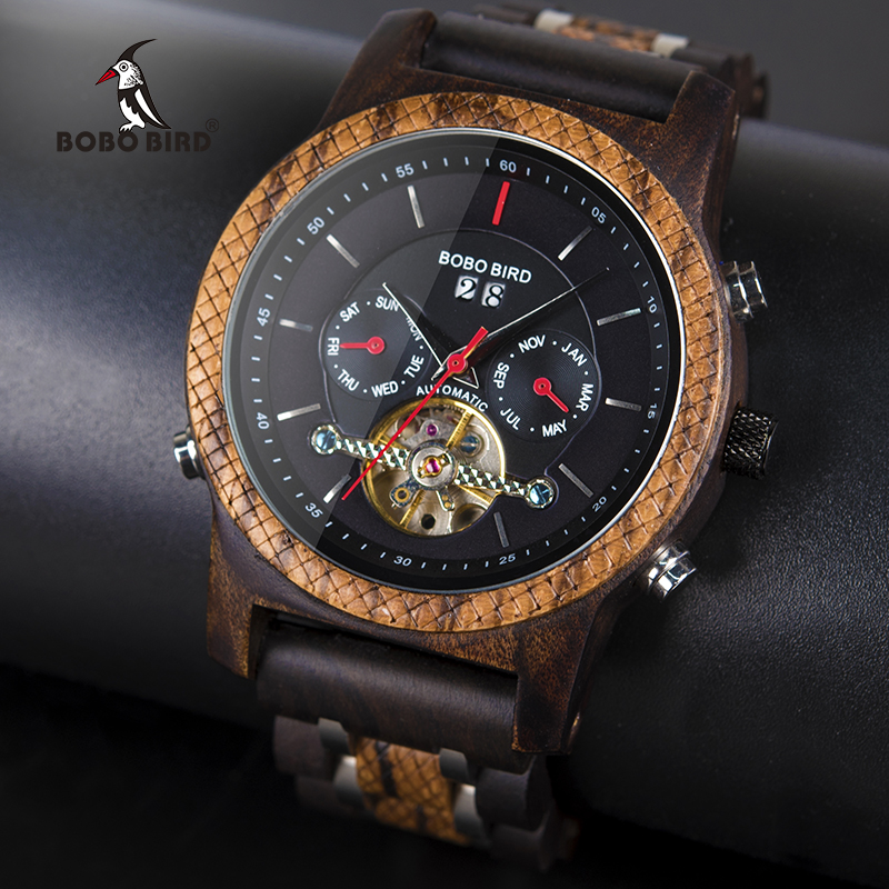 BOBO BIRD Automatic Mechanical Watch Men Wooden Luxury Women Watches with Calendar Display Multifuctions relogio masculino