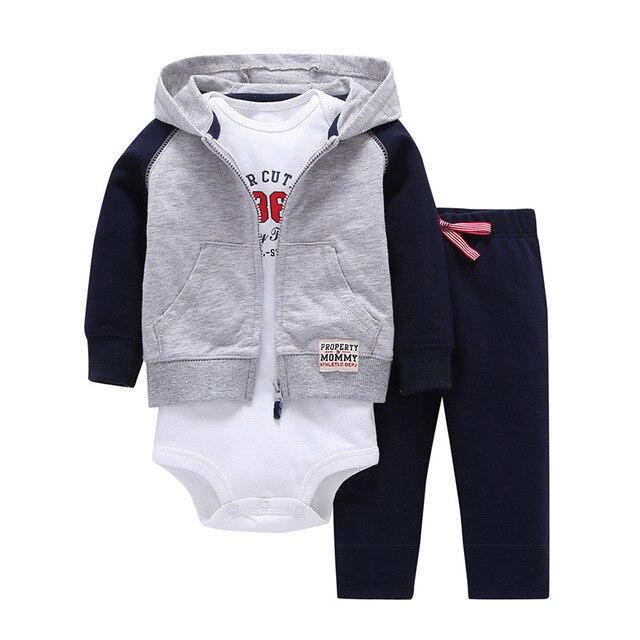 b100dee7f Baby boy clothes 2018 cardigan+trousers+body 3pcs clothing sets baby romper  roupas de