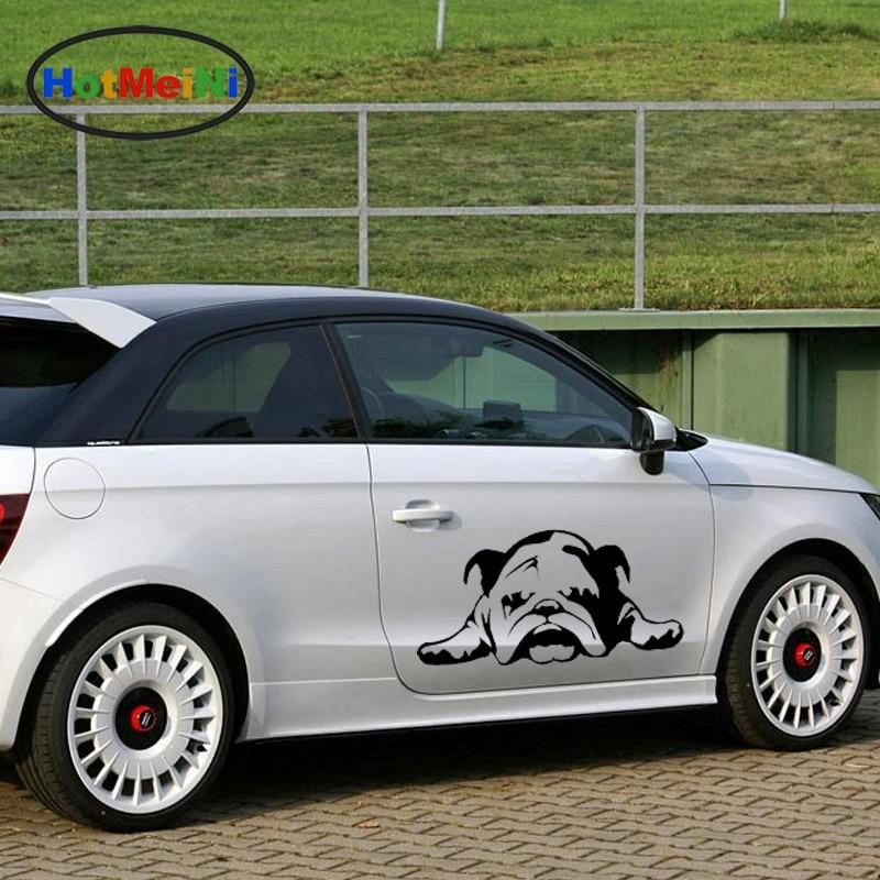 HotMeiNi 33cmX69.6cm Cute English Bulldog pattern tired get on the ground styling Dog Car Sticker For Truck SUV Door Vinyl Decal mnotht 1 6 english bulldog model cute