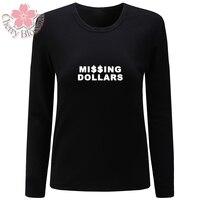 Cherry Blossom Women T Shirts Cotton T Shirt Long Sleeve O Neck TShirts Missing Dollars Print