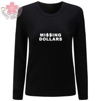 Kersenbloesem Vrouwen t-shirts Katoenen T-Shirt Lange Mouwen O Neck T-shirts Ontbrekende Dollars Print Vrouw Tops Tee Plus Size Shirt