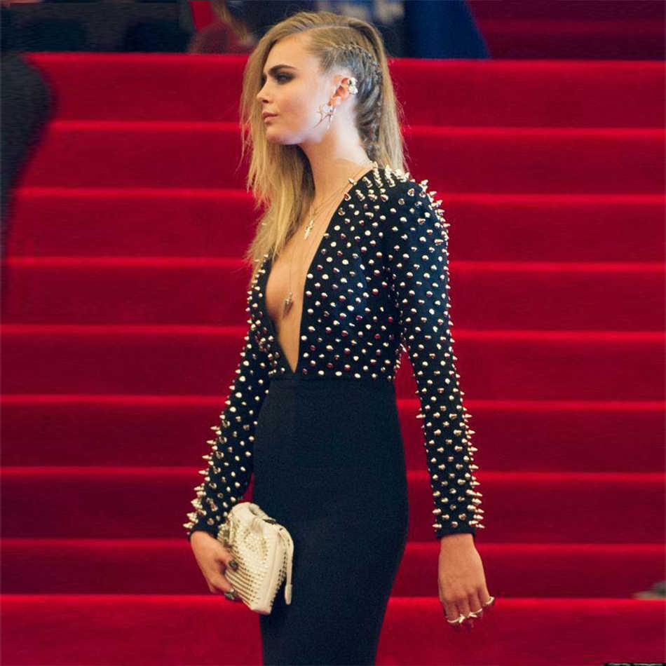 Новые Подиумные вечерние платья с заклепками женское утягивающий Бандаж с длинным рукавом Платья Vestidos знаменитости сексуальное Глубокий V Клубное платье длиной до колена