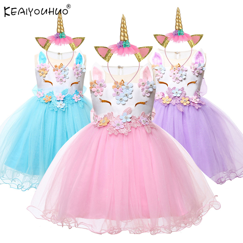 Baby Girls Unicorn Dress For Baby Girl Clothes Costume Kids Wedding Princess Dresses First Birthday Infant Girl Party Dress