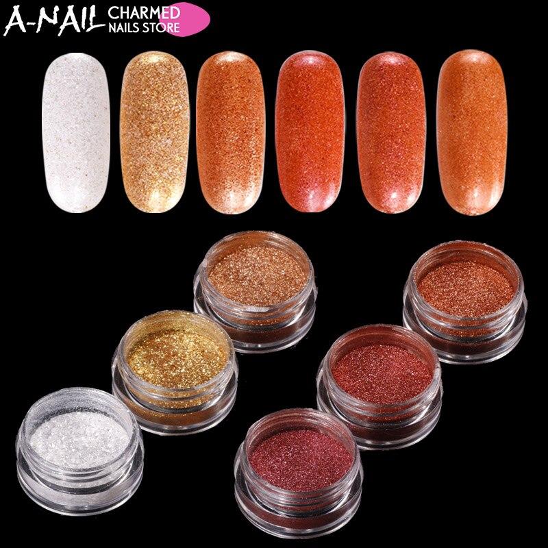 6 colores / juego brillante efecto de color brillante polvo de uñas - Arte de uñas