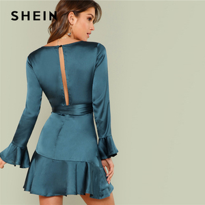 Image 3 - SHEIN Blue Party Elegant Sexy Split Back Ruffle Trim Overlap Front Belted Deep V Neck High Waist Solid Autumn Dress For Women