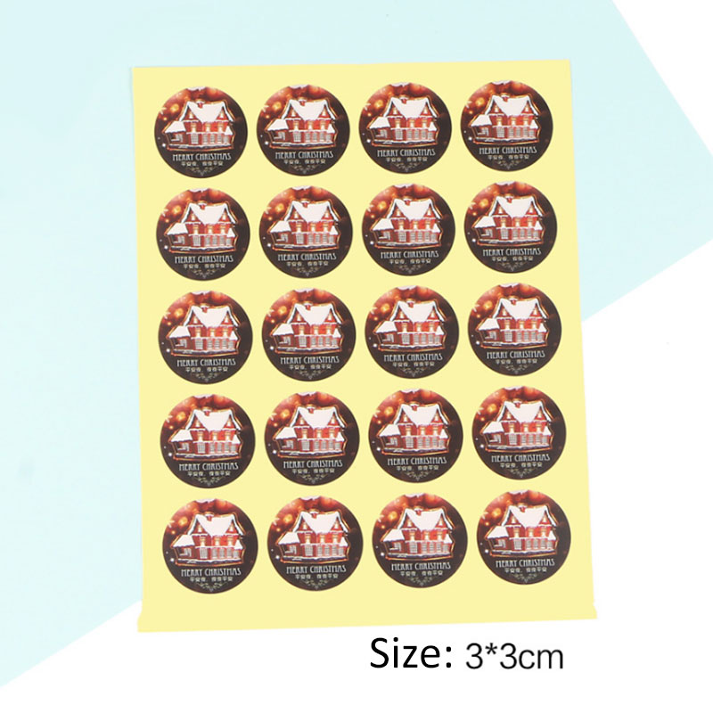1 page (20 pcs) Christmas stickers house circular adhesive sticker Candy box gift card decoration New Year party supplies