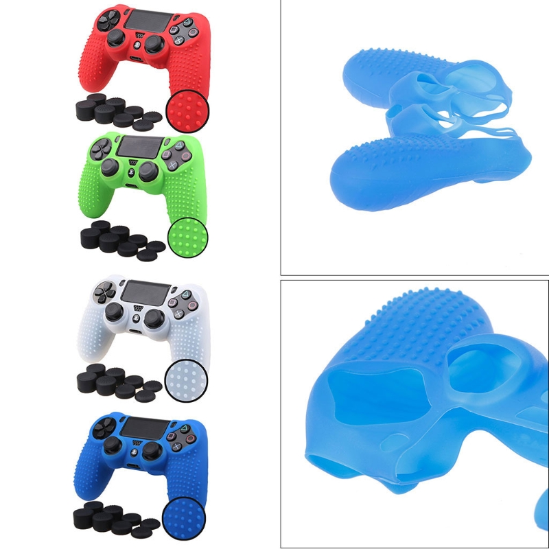 OOTDTY 9-In-1 Anti-Slip Silicone Cover Skin Case + 8 Thumbsticks Grips For Sony Dualshock 4 PS4 Pro Slim Controller