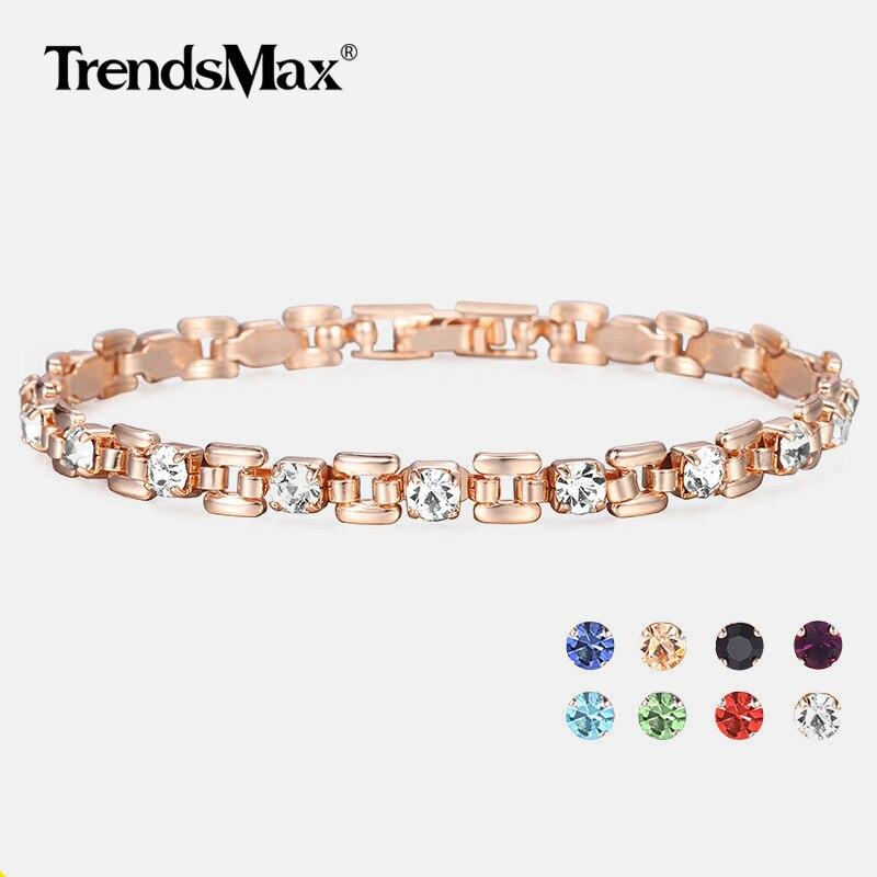 8 Color Cubic Zircon Bracelets For Women 585 Rose Gold Squar