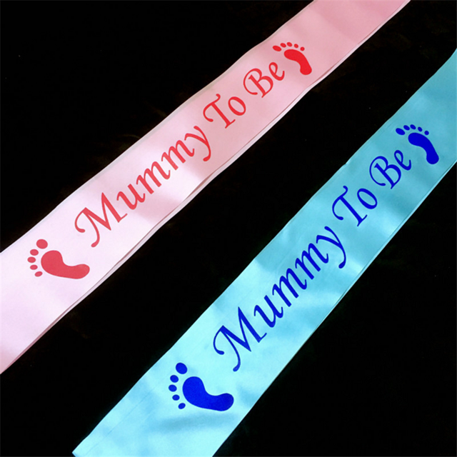 1Pcs NEW Blue Pink Mommy To Be Sash Baby Shower Birthday Party Decorations Kids Gender Reveals Decoration Mom GiftsQ