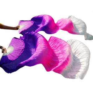 Image 4 - New Arrivals Stage Performance Dance Fans 100% Silk Veils Colored  Women Belly Dance Fan Veils (2pcs)  red+light red +white