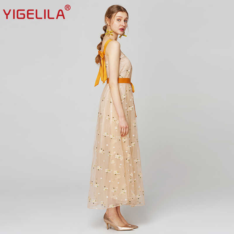 YIGELILA ล่าสุดฤดูร้อนผู้หญิงตาข่ายเย็บปักถักร้อยยาวชุดแฟชั่นสปาเก็ตตี้สายคล้องคอ V - Neck Empire Slim Bow Bandage Dress XXL 63564