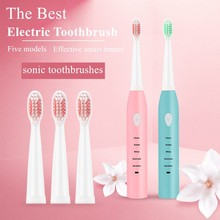 HM Sonic Electric Toothbrush Adult Timer Brush USB Charge Rechargeable Tooth Brushes with 4pcs Replacement Heads