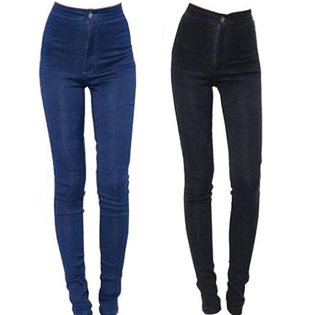 2016 Nuevos Vaqueros de La Manera de Las Mujeres Pantalones Lápiz Pantalones Vaqueros de Cintura Alta Sexy Pantalones Flacos Elásticos Delgados Pantalones Vaqueros Señora Apta Plus tamaño