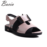 Bacia Women Genuine Leather Sandals Fashion Women Flat Sandals Gril Summer Shoes Ladies Sandals Girls Patchwork