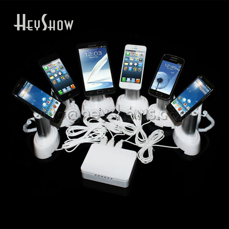все цены на 6 8 10 Ports Tablet Security Stand Mobile Phone Anti-theft Holder Ipad Display Alarm Cell Phone Charging Box For Apple Retail