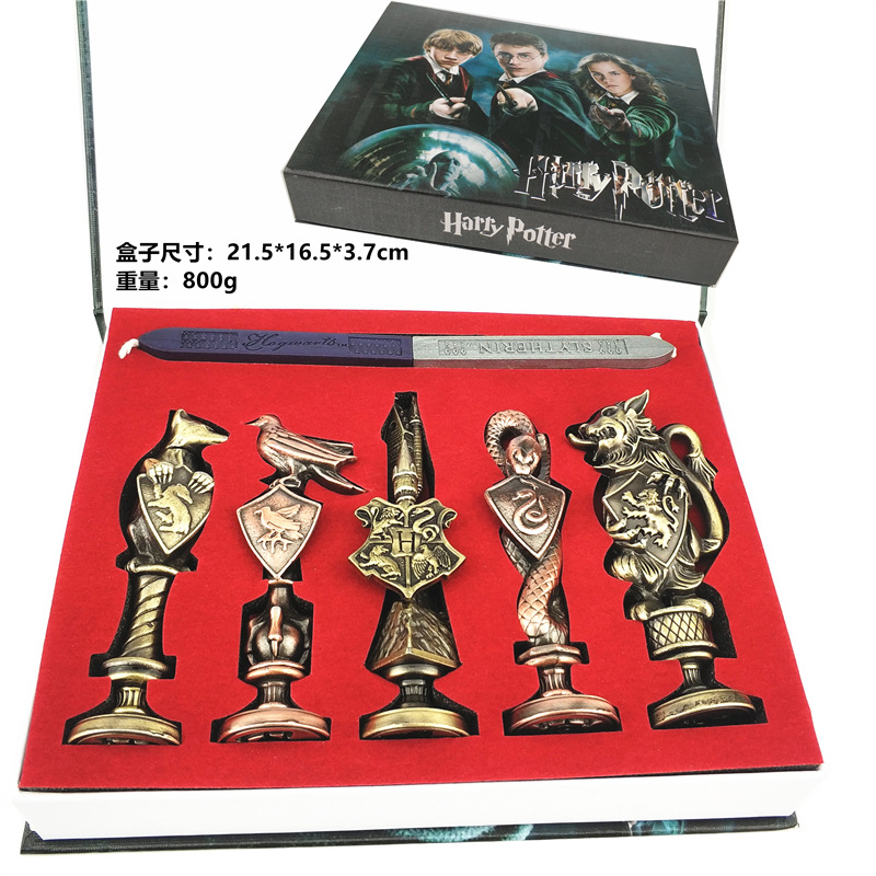5pcs set Movie Harri Potter 3D Metal Fire Paint Seal wax Hogwarts Sealing Wax Suit Collection toys Gifts Box Packing