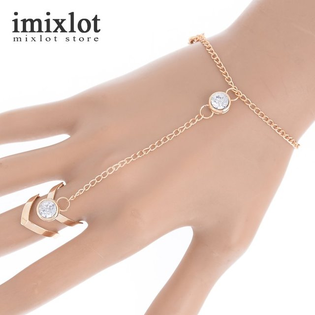 Women Crystal Rhinestone Chain Link Bangle Slave Finger Ring Hand