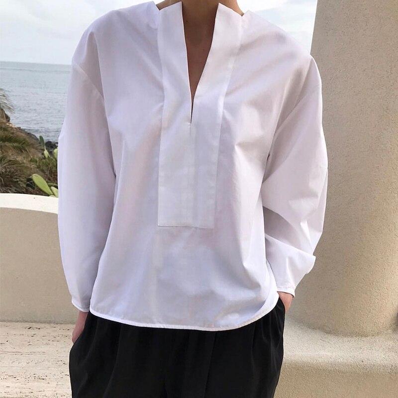 Wit Peone blouse Katoen TOP Lange Puff Mouwen Fashion vrouwen NIEUWE-in Blouses & Shirts van Dames Kleding op  Groep 1