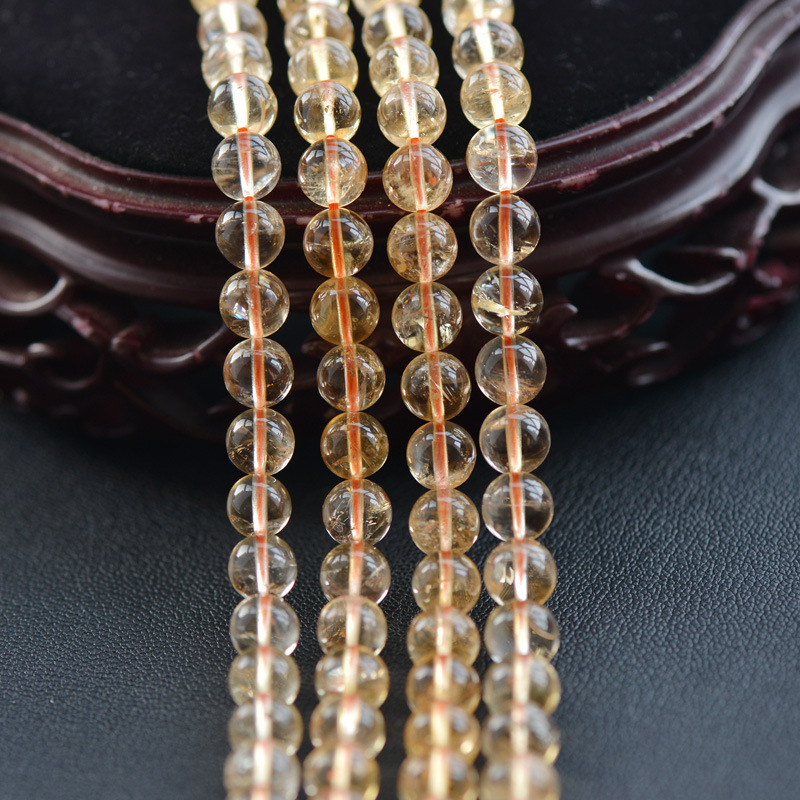 Beads Citrine Natural Round AAA Smooth Joanlyn 6mm-12mm CE07 Polished 15inch-Strand Not-Dyed
