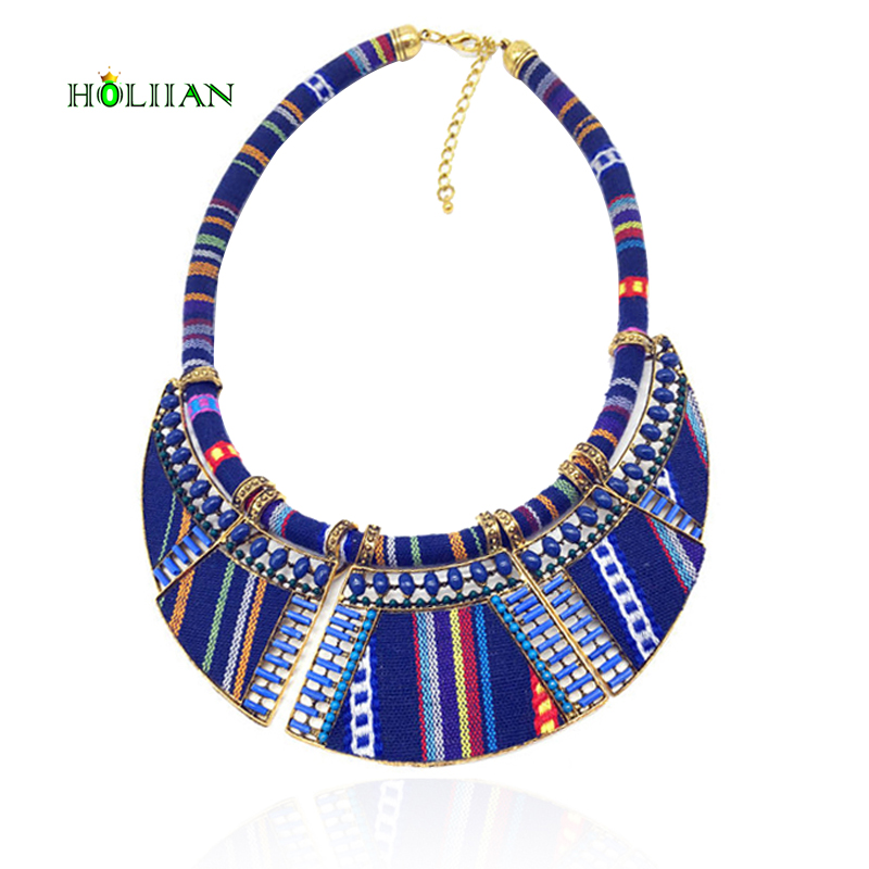 Hot women choker necklace rope chain bohemia boho collar tribal ethnic vintage navy blue big necklace & pendants jewelry bijoux faux leather rope vintage necklace