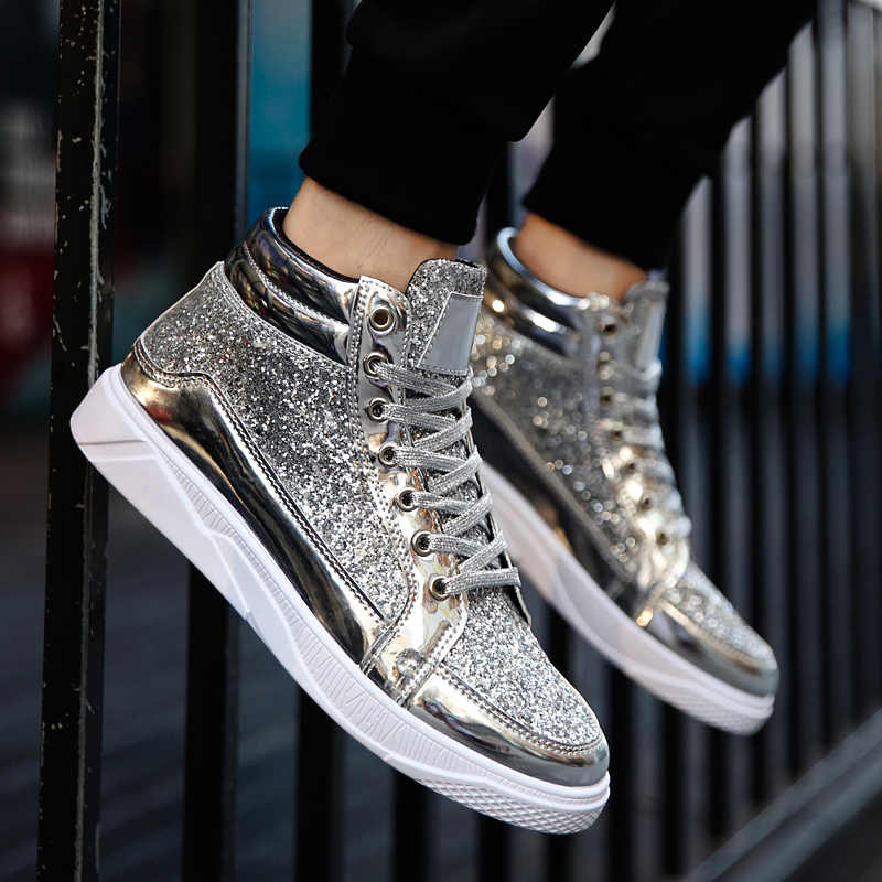 1fc8ed8e61619 ... Valstone Hip Hop shoes Men leather casual sneakers Gold fashion sneakers  lace-up silver high ...