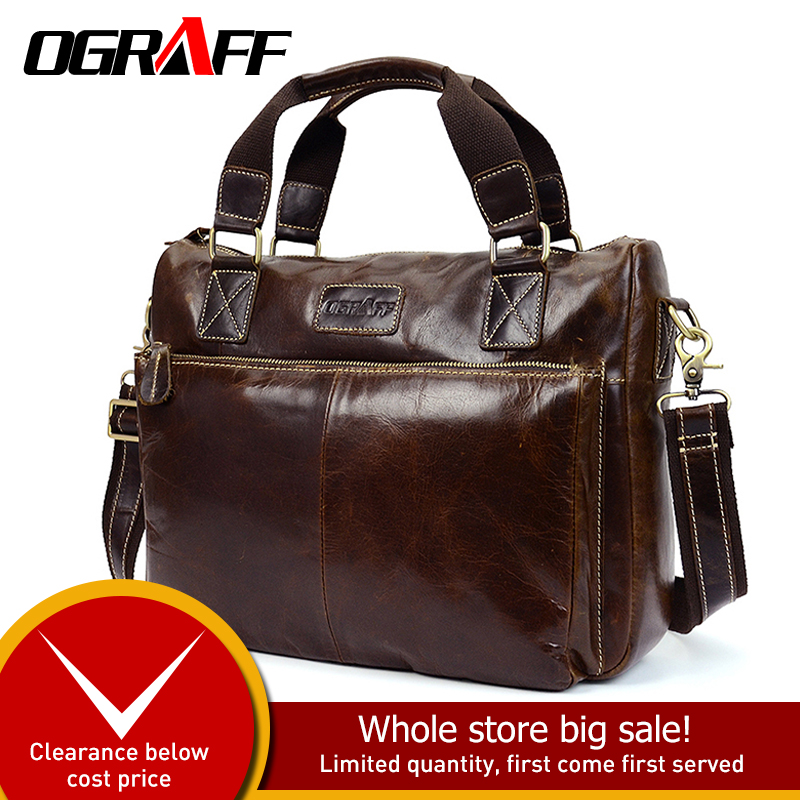 OGRAFF men handbag genuine leather bag men bags male messenger bag men shoulder bag famous brand